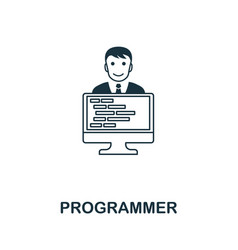 Programmer line icon thin design style from vector