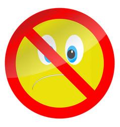Prohibition of bad mood symbol vector