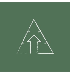 Pyramid with arrow up icon drawn in chalk vector image