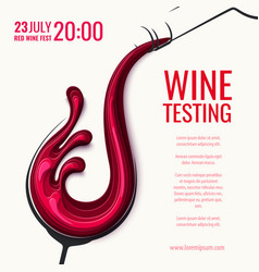 red wine splash in wine glass with bottle vector image