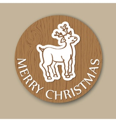 Round cristmas woody greeting with deer vector