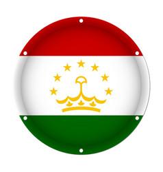 Round metallic flag of tajikistan with screw holes vector