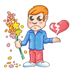 Sad for love cartoon vector image