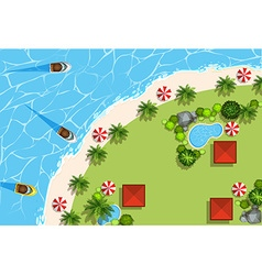 Scene with ocean and boats vector