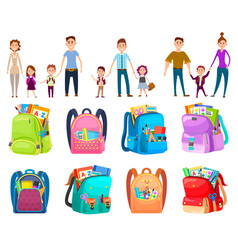 School bag parent with child backpack vector
