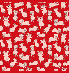 seamless pattern with cheerful pigs vector image
