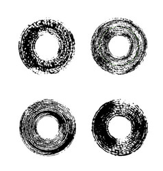 set of black grunge circles vector image