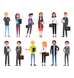 Set of business people characters dressed formally vector
