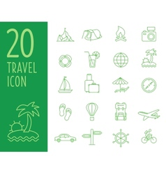 Set of green travel icons travel icons in vector image vector image