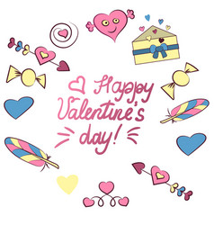 Set of valentine s day elements isolated on white vector