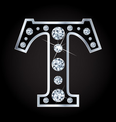 Shiny diamond letter isolated on black vector