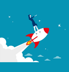 start up businesswoman standing on rocket ship vector image