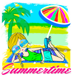 summer kids girl tee graphic design vector image