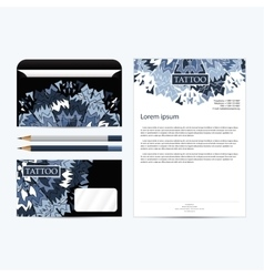 Tattoo salon corporate identity template set black vector image