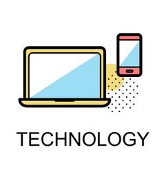technology icons for business on white background vector image