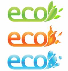 Three eco emblems vector