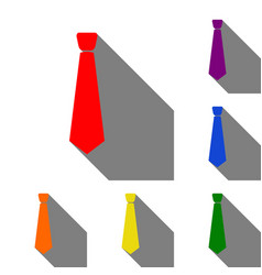 tie sign set of red orange yellow vector image
