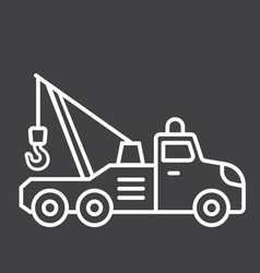 Tow truck line icon transport and vehicle vector