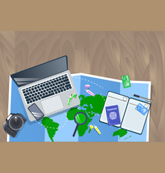 traveler desktop with laptop map photo camera vector image