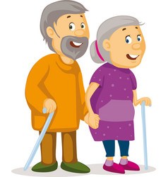 Two old people holding hands - grandmother and gra vector