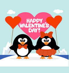 valentines day background card with penguins vector image