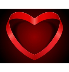 Valentines day heart from red silk ribbon vector