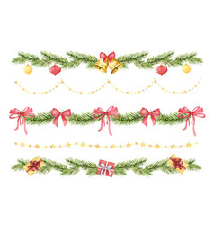 Watercolor christmas set borders of vector