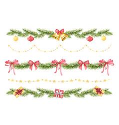 watercolor christmas set borders vector image