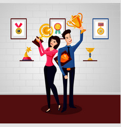 win team successful businessman with award winner vector image