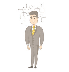 Young caucasian businessman thinking vector