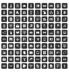 100 database icons set black vector