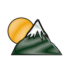 drawing mount fuji sun japan landscape natural vector image