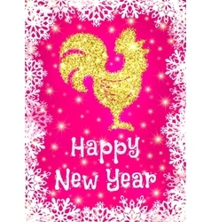 Gold glitter crowing rooster with sparkles on pink vector