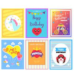 happy birthday princess cards vector image