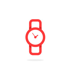 red linear wristwatch icon vector image