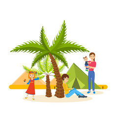 Summer journey together in warm country vector
