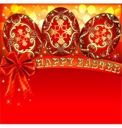 background with Easter eggs and golden bow vector image vector image