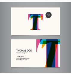 Business card template letter T vector image vector image