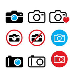 camera taking photos no camera sign icons vector image vector image