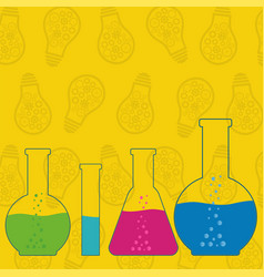 Flasks beakers and test-tubes chemical laboratory vector