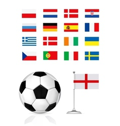football ball and flag vector image vector image