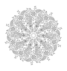Mendie Mandala with flowers and leaves isolated vector image vector image