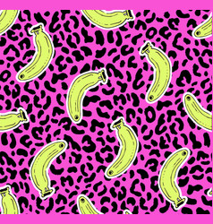 seamless leopard banana pattern vector image vector image