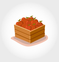 Box fresh red apples eco products cartoon style vector