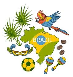 Brazil symbols set vector