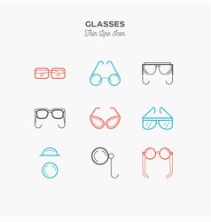 glasses sunglasses lenses monocle and more vector image vector image