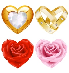golden jewellery and roses vector image vector image