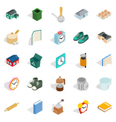home library icons set isometric style vector image vector image