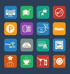 hotel icons set flat design for website and vector image
