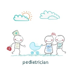 pediatrician came to the sick child in the vector image vector image